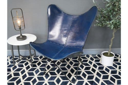 RUSTIC BLUE LEATHER METAL BUTTERFLY ACCENT LOUNGE CHAIR (DX7168)